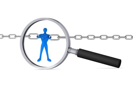 broken unity: 3d man holding a chain together in the magnifier 3d icon Stock Photo
