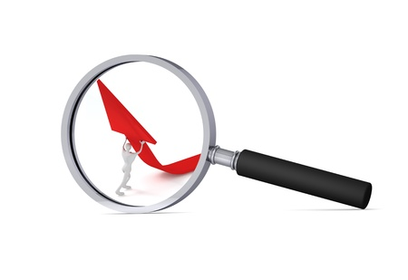 3d man turning the arrow on the upside  in the magnifier 3d icon