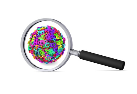 decimal: Colorful 3d sphere of numbers in the magnifier 3d icon Stock Photo