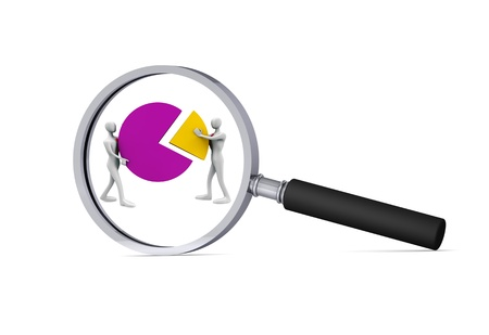oversee: 3d persons with a pie chart  in the magnifier 3d solution icon  Stock Photo