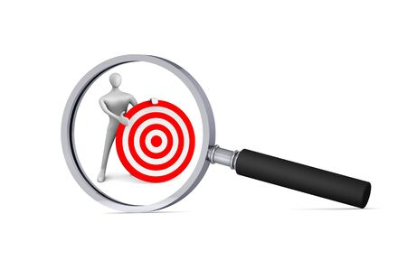 oversee: 3d man with red target  in the magnifier 3d icon Stock Photo