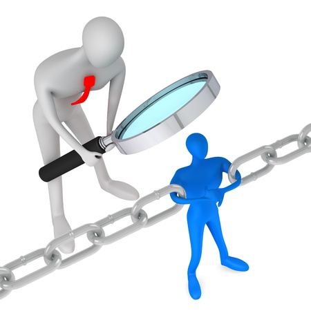 3d person watching 3d man holding a chain together   Stock Photo