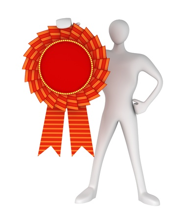 conquest: 3d man holds in his hand in an award medal  Stock Photo
