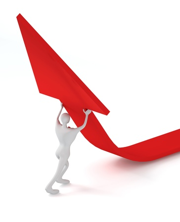 3d man turning the arrow on the upside Stock Photo