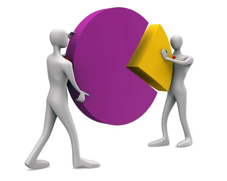 solution icon / 3d persons with a pie chart Stock Photo - 14453369