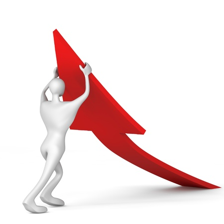 initiatives: 3d man turning the arrow on the upside Stock Photo