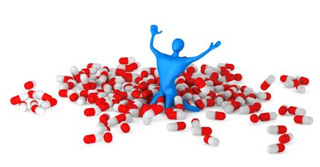 happy 3d man among pills  photo