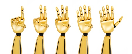 numerate: Golden 3d robotic hands showing numbers