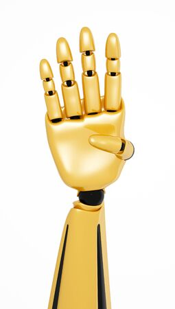 numerate: Golden 3d robotic hand showing number four