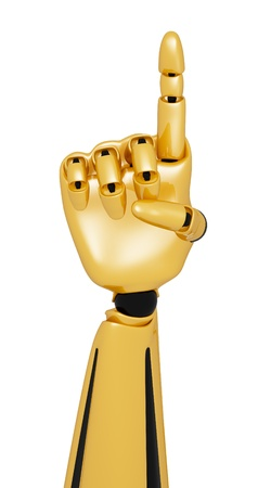 numerate: Golden 3d robotic hand showing number one