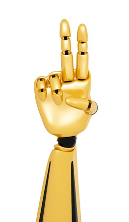 Golden 3d robotic hand showing number two  photo