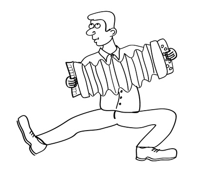 man playing the accordion on white background Vector