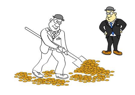 Uomo d'affari con il capo in sella alla miniera d'oro