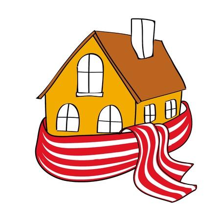 effizient: Haus eingewickelt in ein Tuch abgestreift Illustration