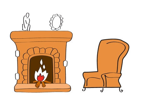 stone fireplace: Fireplace with chair Illustration