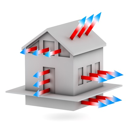 3d house with arrows of heat loss Stock Photo - 14524084