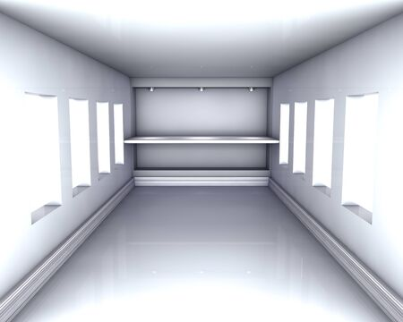 3d empty niche with shelf and spotlights for exhibit in the grey interior with windows Stock Photo - 14524040