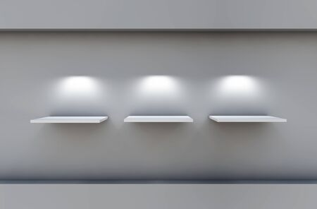 three 3d shelves and spotlights for exhibit in the grey interior  photo