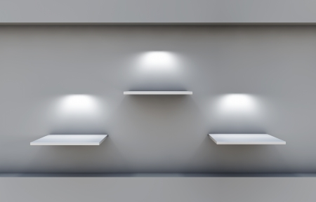 three 3d shelves and spotlights for exhibit in the grey inter 