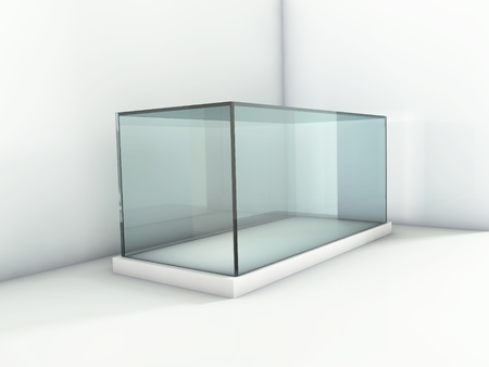 Empty glass showcase in the corner of gallery photo