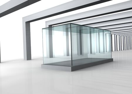 Empty glass showcase in grey room with columns photo