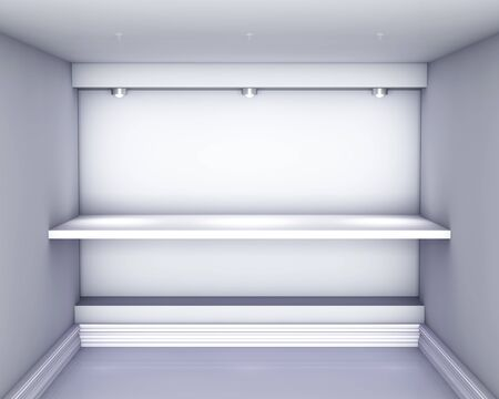 3d empty niche with shelf and spotlights for exhibit in the grey interior Stock Photo - 14524041