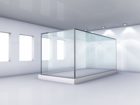 Empty glass showcase in grey room with windows photo