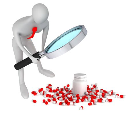 oversee: 3d person watching on 3d medical pills with bottle on a white background
