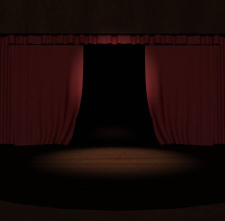 3d red stage curtain with spotlight on stage  photo