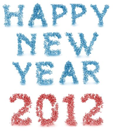 Shape of happy new year made from 3d letters photo