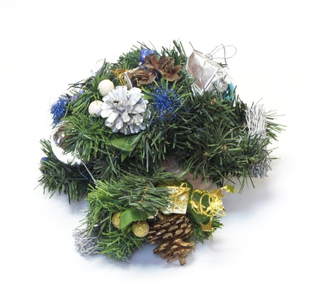 Christmas decoration with the twigs of the spruce and baubles  photo