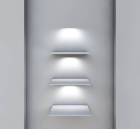 three 3d shelves and spotlights for exhibit in the grey interior Stock Photo - 14553157
