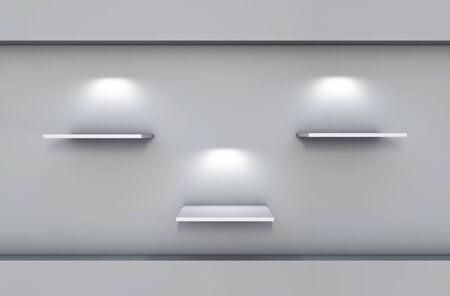 three 3d shelves and spotlights for exhibit in the grey interior Stock Photo - 14553154