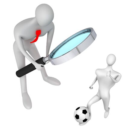 oversee: 3d person watching on soccer player with ball on white background
