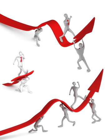 initiatives: 3d persons turning the arrow on the upside and man who going up Stock Photo