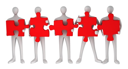 3d persons with puzzles on a white background photo