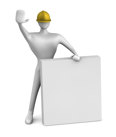3d construction worker with stop gesture  Stock Photo - 14553053