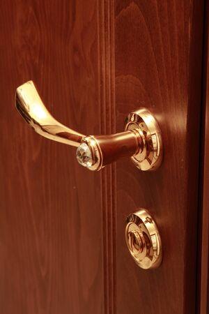 Wooden door with the lock photo