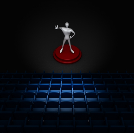 auditorium with  3d man on stage  photo