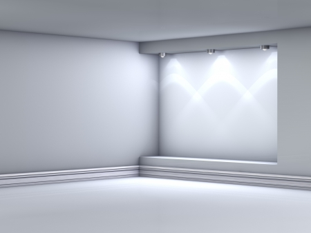 3d empty niche with spotlights for exhibit in the grey interior Standard-Bild