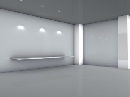 3d Shelf And Spotlights For Exhibit In The Grey Interior Stock Photo    14571136