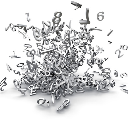3d numbers exploded Stock Photo