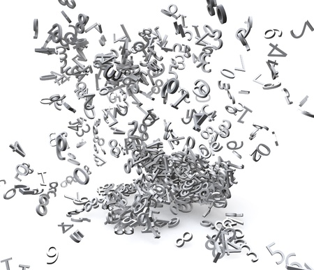 chaos theory: 3d numbers exploded Stock Photo