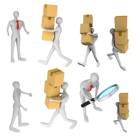 oversee: set of images with 3d man delivering a a parcel to another 3d man