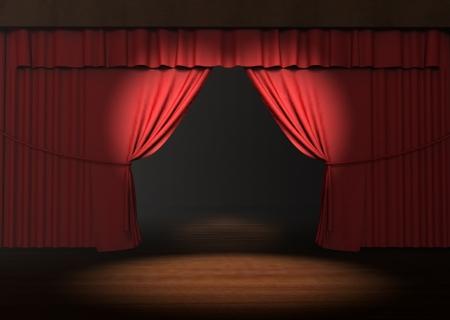 spiraglio: 3d rosso sipario con faretto sul palco