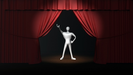 3d man with red stage curtain with spotlight on stage  photo