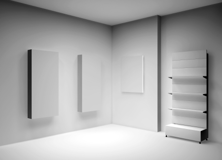commerce and industry: 3D shelves for wrap advertising and boxes in a gallery Stock Photo