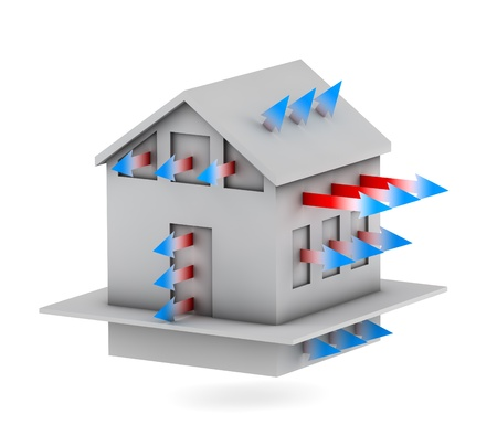 3d house with arrows of heat loss  Stock Photo
