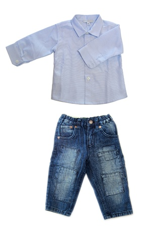 Long sleeved baby boy shirt with jeans isolated on a white background 版權商用圖片