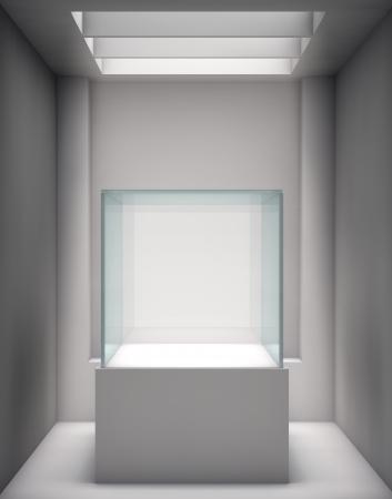 zatkanie: 3d szklanej gablocie i nisza na wystawie w galerii
